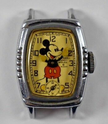 Vintage 1930's Ingersoll Mickey Mouse Early Model Character Watch lot.d