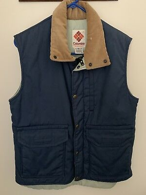 Vintage Columbia Vest with Corduroy Collar And Double Zip Front Stranger Things