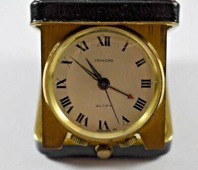 Vintage Rare Concord Swiss Made Travel Alarm Clock Working lot.d