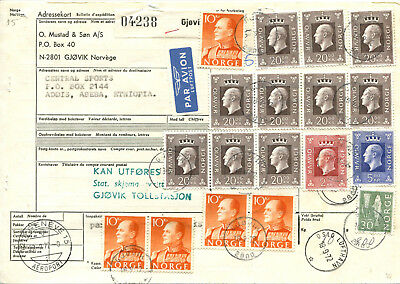 Norge, parcel card by air mail to Ethiopia