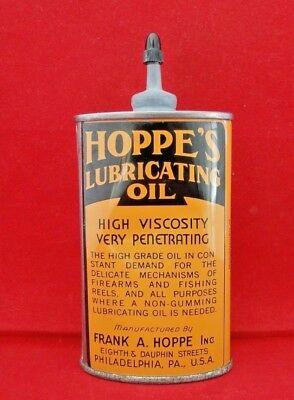 Vtg HOPPE'S Lubricating Oil Oval Tin w/Lead Spout Guns Fishing $.99 START NR