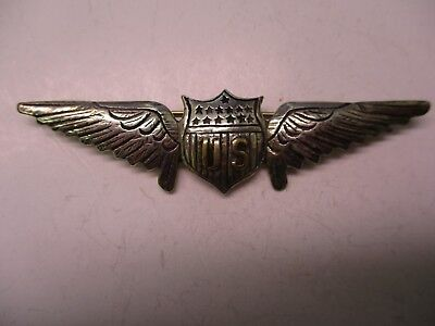 US WWI Style Pilot's Wings Marked Sterling with Pin Back Fastener