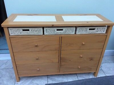 Antique Pine/Wicker Dresser + 3 Bedside Cabinets With 3 Drawers + Mirror.