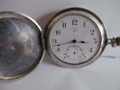 Antique pocket watch full hunter solid silver fair condition and working