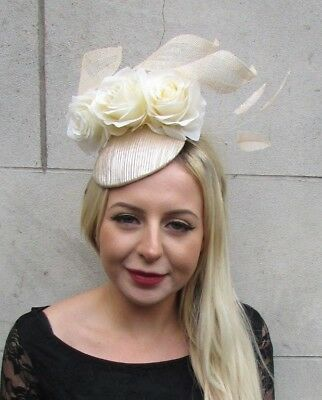 Champagne Beige Cream Rose Flower Feather Hat Fascinator Races Wedding Hair 6780