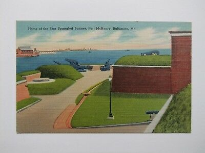 Home of the Star Spangled Banner Fort McHenry Baltimore Md linen postcard