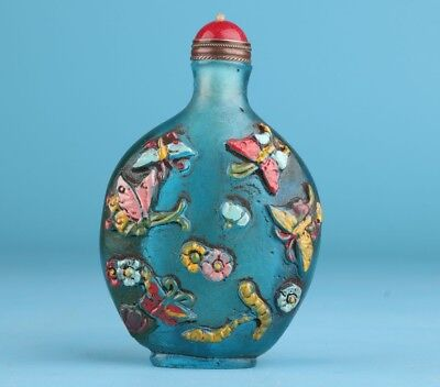 Rare Coloured Glaze Snuff Bottle Fish Adornment Hand-Carved Mascot Gift Box