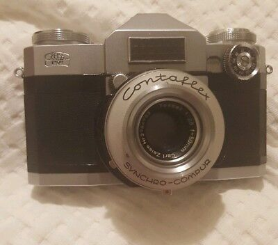 Zeis Ikon Contaflex SLR Camera 35mm with Carl Zeiss 50mm f/2.8 Lens + Case. Nice
