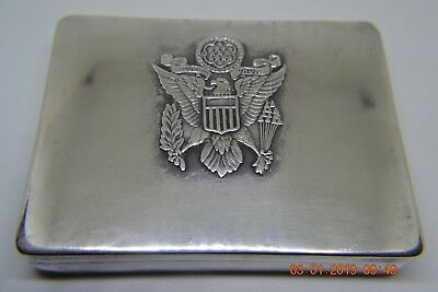 Vintage 90% Sterling Silver Card Box Chief Historian Far East Air Forces Wwii