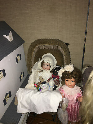 ANTIQUE Dolls Wicker Pram 19th Century.