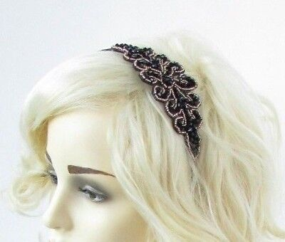 Black & Gold Beaded Art Deco Fascinator Headband 1920s Great Gatsby Flapper 6793