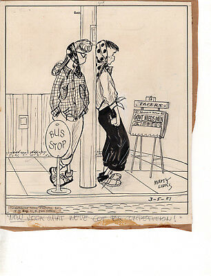 Emmy Lou by Marty Links Original Panel Cartoon Artwork 1951 #3  Bobby Sox