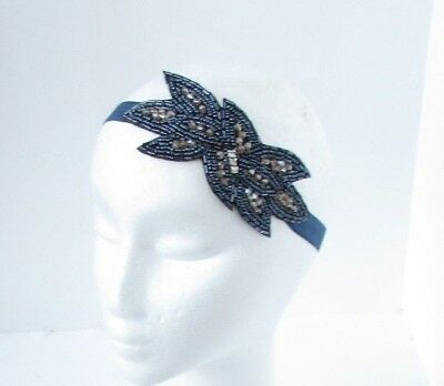 Navy Blue Bronze Silver Beaded Elastic Headband 1920s Great Gatsby Flapper 6795