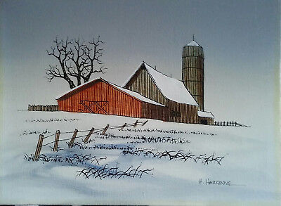 Original Oil Painting on Canvas by H. Hargrove, Snow Scene with Barn and Silo.