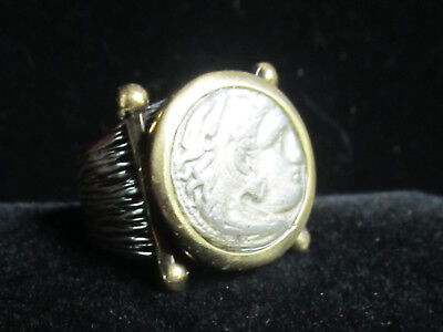 Authentic Ancient Alexander the Great, Silver Drachm, 336-323 B.C. Mens Ring!