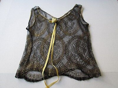 Exquisite Antique French Black Lace With Metallic Gold Camisole..lingerie