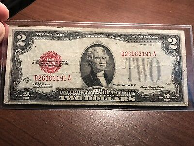 1928D $2 Dollar Bill  Us Note Legal Tender Paper Money  Red Seal A397