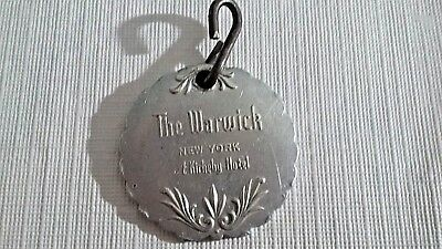 Vintage Hotel Key Fob The Warwick New York Famous Hotel