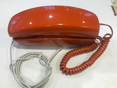 Vintage Late 1970's Trimline Touch Tone Desk Phone, Works Great, Orange Rust