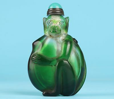Preciou Coloured Glaze Hand-Carved Monkey Animal Statue Snuff Bottle Collection