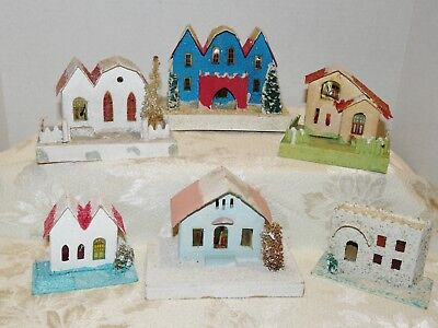 "6 Pc~Vtg~Japan~XMAS~Cardboard Houses~Coconut Mica~Sizes:7x5x4 to 4x 2+x3+""~As Is"