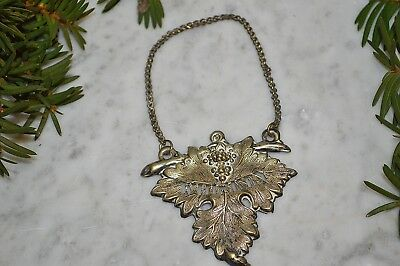 Vintage Silver Plate Whiskey Grape Leaf Decanter Label Tag Barware