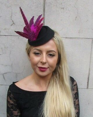 Black Hot Pink Pheasant Feather Pillbox Hat Hair Clip Fascinator Races Vtg 6806