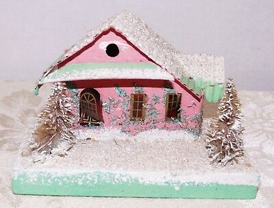 Vtg~Japan Xmas Cardboard House~COCONUT MICA CORRUGATED CABIN ROOF~Bottle Brush