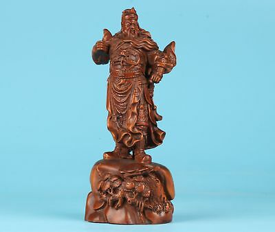 Precious Boxwood Pure Hand Carving Guan Gong Statue Old Antique Collection