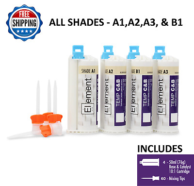 4 ELEMENT Temporary Crown and Bridge Material Cartridges w/ 60 tips ALL SHADES
