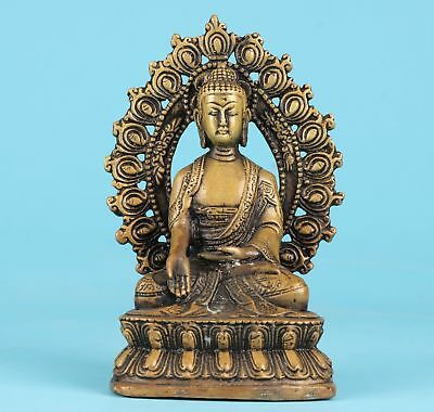 Rare Bronze Hand-Carved Buddha Statue Meditation Faith Dedicated Old Collec