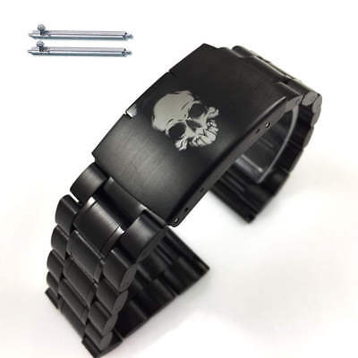 Steel Metal Bracelet Black Replacement Watch Band Strap Skull Collection #5016-4