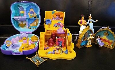 Polly Pocket Bluebird Disney Aladdin Playset+Agrabah Market+Locket LOT w/figures