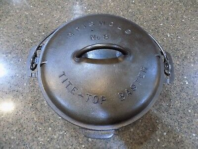 Griswold No. 8 Cast Iron Tite-Top Dutch Oven W/ Lid Cleaned  Seasoned