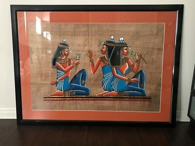 Original Egyptian papyrus painting framed w/ glass 32.5'x44'