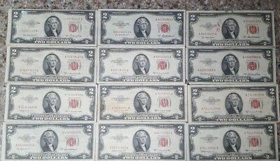 LOT OF 12 - RED SEAL $2 TWO DOLLAR BILLS, ALL 1953,  One VERY FINE **STAR NOTE**