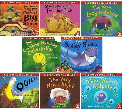 NEW x 8  picture book & CD set QUIET Teeny Tadpole SMILEY SHARK Shaggy dog STORM