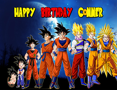 DRAGON BALL Z Edible Image Birthday Cake Topper Personalized Decoration