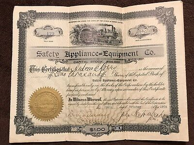"""Rare Antique Mining Stock Certificate,""""Safety Appliance- Equipment Co."""", RI,1902"""
