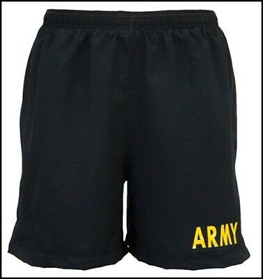 US Military Army APFU PT Shorts Physical Fitness Uniform Black Gold Small EXC