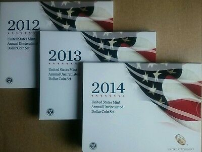 2012 2013 and 2014 ~ U. S. Mint Annual Uncirculated Dollar Coin Sets
