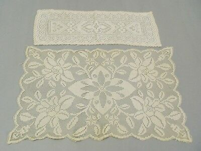 Lot of 2 Antique handmade Italian Filet lace doilies