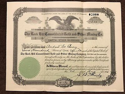"""Rare Antique Mining Stock Cert., """"Rock Hill Gold & Silver Mining Co"""", CO, 1906"""