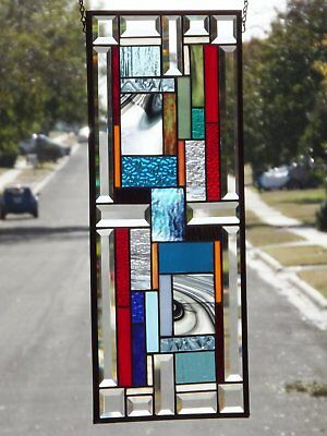 "• Color Your World •Beveled Stained Glass Window Panel • 26"" x11 """