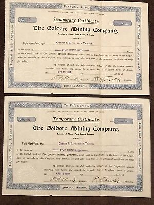 "Rare Antique Pair Consecutive Mining Stocks.,""The Goldore Mining Co"" Co, 1899"