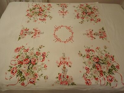 "Vintage ""STARTEX"" Pink Floral ""Valentine Cupids"" Rectangle Tablecloth 45 x 53"