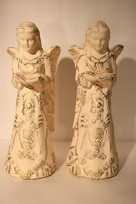 """Home & Garden Party Handcrafted Painted Terra Cotta Angel Sculptures 15 1/4""""tall"""