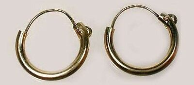 "High Quality 14kt Gold 10mm Top Wire Hoops Ancient Egyptian ""Flesh of the Gods"""