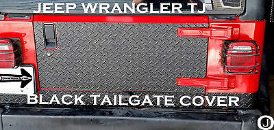 Jeep Wrangler TJ 1 pc Black Rubber Coated Aluminum Diamond Plate Tailgate Cover