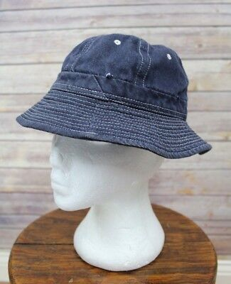 Vintage circa 1960's Cotton Denim Daisy Mae Bucket Hat Extra Small
